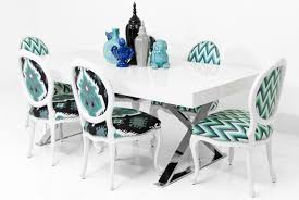 Victoria Dining Chair In Aqua Zig Zag Printed Fabric - ModShop