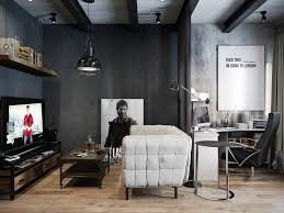 Nice Looking Rustic Industrial Living Room For Apartment Concept With White Tender Sofa And Style Lighting Support