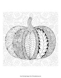 Fall Coloring Page Zentangle Pumpkin With Background