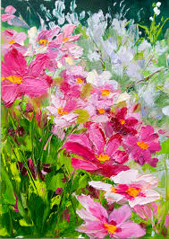 Cosmos Flower Palette Knife Painting So Pretty Kit Hevron Mahoney Acrylic FlowersSimple PaintingAbstract