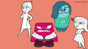Disney Pixar Inside Out Joy Sadness Disgust Fear Anger Coloring Page Activity