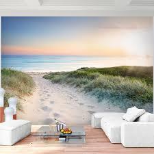 fototapete strand und meer sonnenuntergang 352 x 250 cm vlies tapeten wandtapete moderne wanddeko wohnzimmer schlafzimmer büro flur blau beige
