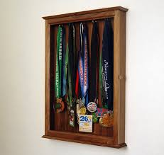 Walnut Sports Marathon Medal Display Case Cabinet Large