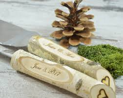 Rustic Country Chic Wedding Knife Set Natural Birch Branch Cake Serving