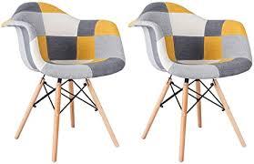 mifi esszimmerstühle mit armlehne 2er set patchwork stuhl esszimmerstuhl design klassiker patchwork sessel retro barstuhl wohnzimmer küchen stuhl