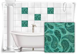 fliesen aufkleber fliesen bilder paisley barock nostalgie retro floral türkis bad wc deko