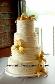 This Wedding Cake Had A Rustic Horizontal Ridge Texture In The Buttercream And Yellow Gumpaste Lilies On Tiers Heres Video Of Icing