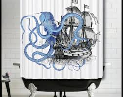 pirate mermaid shower curtain Pirate Shower Curtain For Kids