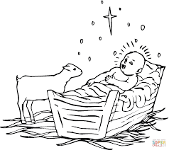 Click The Lamb Near Baby Jesus Coloring Pages