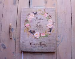 Fall Wedding Guest Book Boho Guestbook Custom Personalized