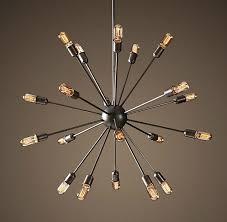 vintage rh restoration sputnik filament chandelier aged steel