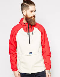 penfield shower proof overhead jacket with contrast in red for men