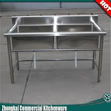 high quality ss304 stainless steel fish cleaning table with sink