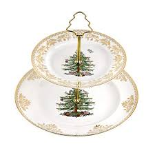 Spode Christmas Tree 2 Tier Cake Stand Gold