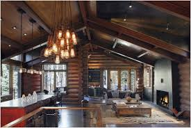 sloped ceiling light fixture for rustic living room designs with