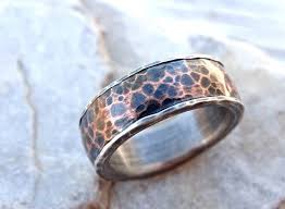 Forged Silver Copper Ring Mens Wedding Band Hammered Rustic Personalized