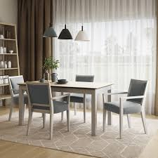 The Gray Barn Hera 5-piece Smart Top Dining Table And Upholstered Dining  Arm Chairs