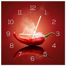 wanduhr aus glas 30x30cm uhr als glasbild küche chili peperoni deko