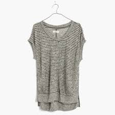 madewell linen side vent tunic tee in stripe in gray lyst