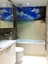 Tropical Beach Printed Glass Splashback Bathroom