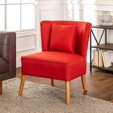 Modern Curved Back Red Accent Chair