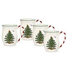 Spode Christmas Tree Glasses Uk by Spode Christmas Tree Candy Cane Handle Mugs Set Of 4 Bed Bath