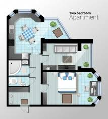 104 Two Bedroom Apartment Design Premium Vector Vector Top View Illustration Of Modern Detailed Architectural Plan Of Dining Room Combined With Kitchen Bathroom Home Interior