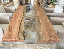 designertisch massivholztisch mit glas und edelstahl