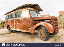 A Rusty Old Vintage Motorhome With An Asbestos Roof Parked In Drace Croatia