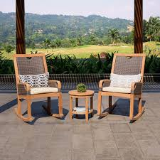 Palma Solid Teak Wood 3 Piece Patio Rocker Conversation Set With Off-White  Cushion