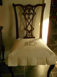 Custom White Seat Cover For Antique Dining Room Chair