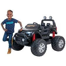 100 Kids Monster Trucks 24V Ford Truck Kids Ride On Car Black Ride On Car 4 Wheel Drive And Rubber Tyres