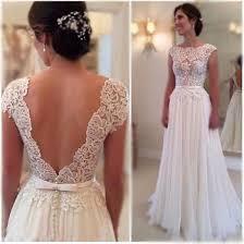 SALE Custom IVORY Or WHITE Vintage Style Cap Sleeve Low V Rustic Elegant Wedding DressCasual Lace