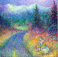 A Super Colorful Landscape Dot Painting Of Man Fishing Into Road