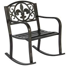 Best Choice Products Metal Rocking Chair Seat For Patio, Porch, Deck,  Outdoor W/ Scroll Design - Black/Bronze Antique Wood Outdoor Rocking Log Chair Wooden Porch Rustic Rocker Stackable Sling Red At Home Free Picture Rocking Chairs Front Porch Heavy Duty Big Accent Patio Xl Lawn Chairs Oversize Fniture For Adult Two Rocks On Front Wooden On Revamp With Grandin Road Decor Hampton Bay White Chair1200w The Plans Woodarchivist Days End Flat Seat Teak Relaxing Slat Green Rockin In Nola Paper Print