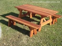 wooden picnic tables with separate benches home decorating