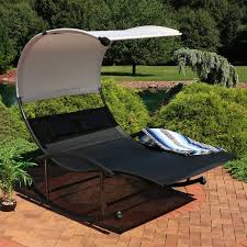 Sunnydaze Double Chaise Rocking Lounge Chair With Canopy And ...