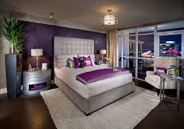 Awesome Grey Bed And Purple Quilt In The Contemporary Bedroom Ideas With Wall Wooden Floor