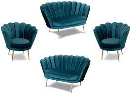 casa padrino designer deco wohnzimmer set türkis messingfarben 2 sofas 2 sessel wohnzimmer möbel deco möbel