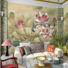 Papel Mural Vintage 3D Wall Murals Self Adhesive Wallpaper Decor Personalized Fresh Lotus Leaf Wallpapers