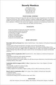 1 Retail And Restaurant Associate Resume Templates Try Them Now Rh Myperfectresume Com Work Experience Examples First No
