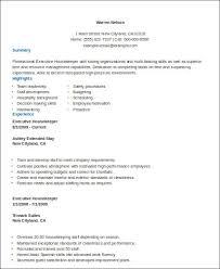 Sample Executive Housekeeper Resume