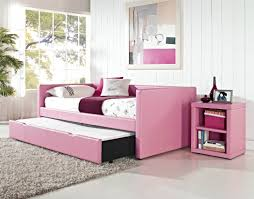 Pop Up Trundle Bed Ikea by Pink Vinyl Upholstered Daybed With Side Cabinet Of Fantastic