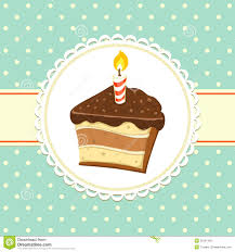 background with piece of Cake with candle Invitation template Vector