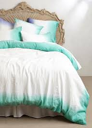 Anthropologie GREEN SOL LINEN QUEEN DUVET COVER Ombre Free Shipping