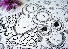 Hattifants Mama Baby Owl Coloring Page