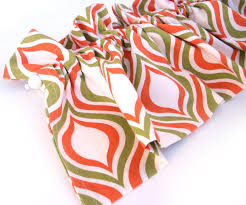SUNNY Valance Curtains Orange Green Cream White Patterned 44
