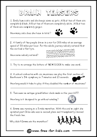 Halloween Brain Teasers Worksheets by Brain Teasers For Kids With Answers
