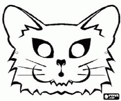 Cat Mask Coloring Page Printable Game