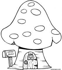 Print Bunny Mushrooms House Coloring Page Kids Printable Pages For Great Busy Parents Tour Home Free